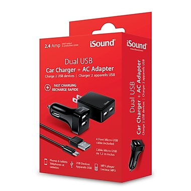 Isound dual usb car charger and adapter ac fast charging with cable _6857