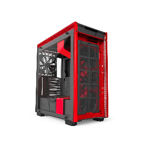 Nzxt case mid tower h700i matte black and red _ca-h700w-br