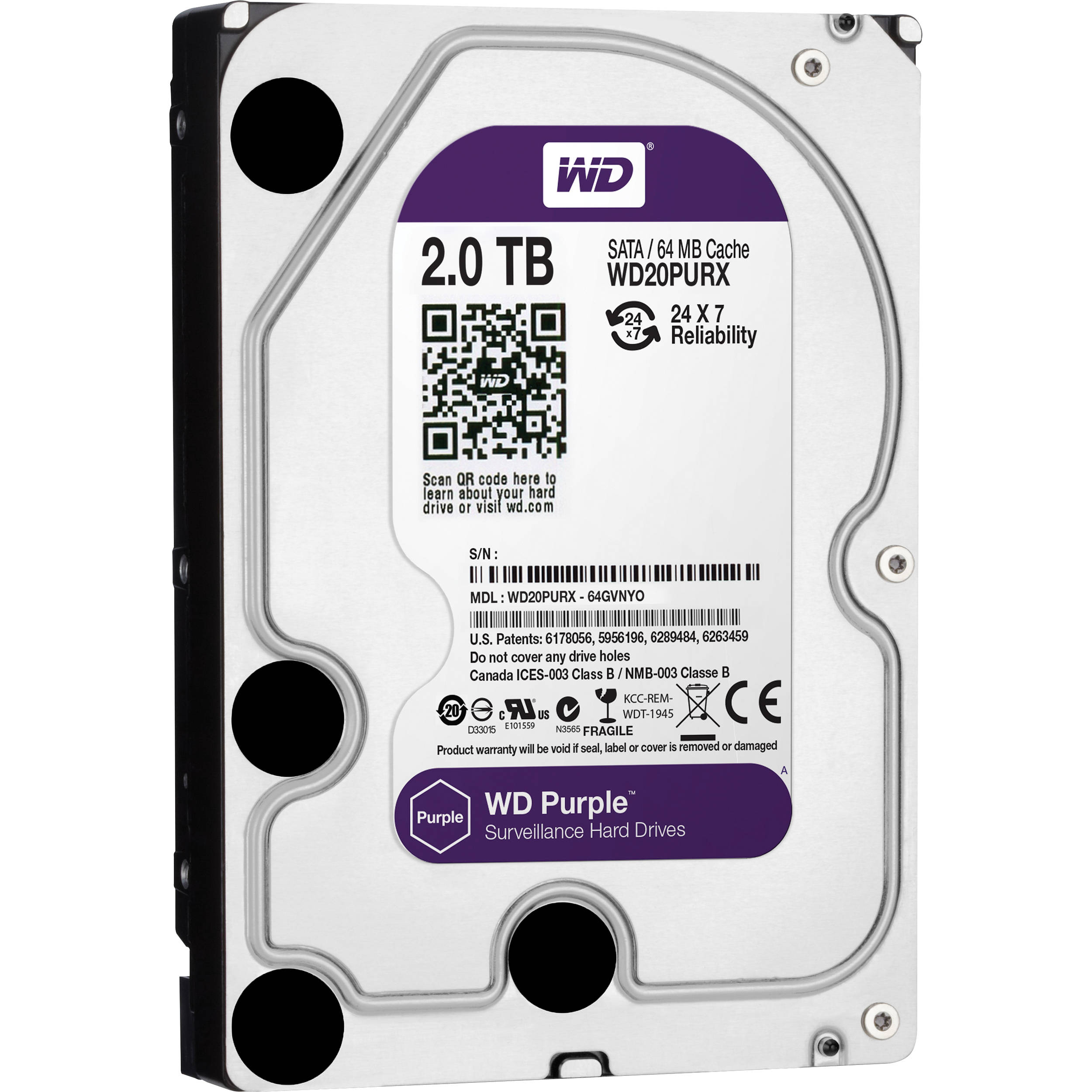 western digital hard disk 2 terra storage 64mb purple _wd20purx