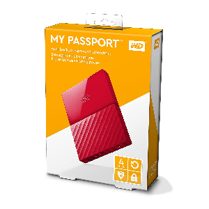 Western digital external slim hdd my passport 4 terra usb3 red  _wdbyft0040brd