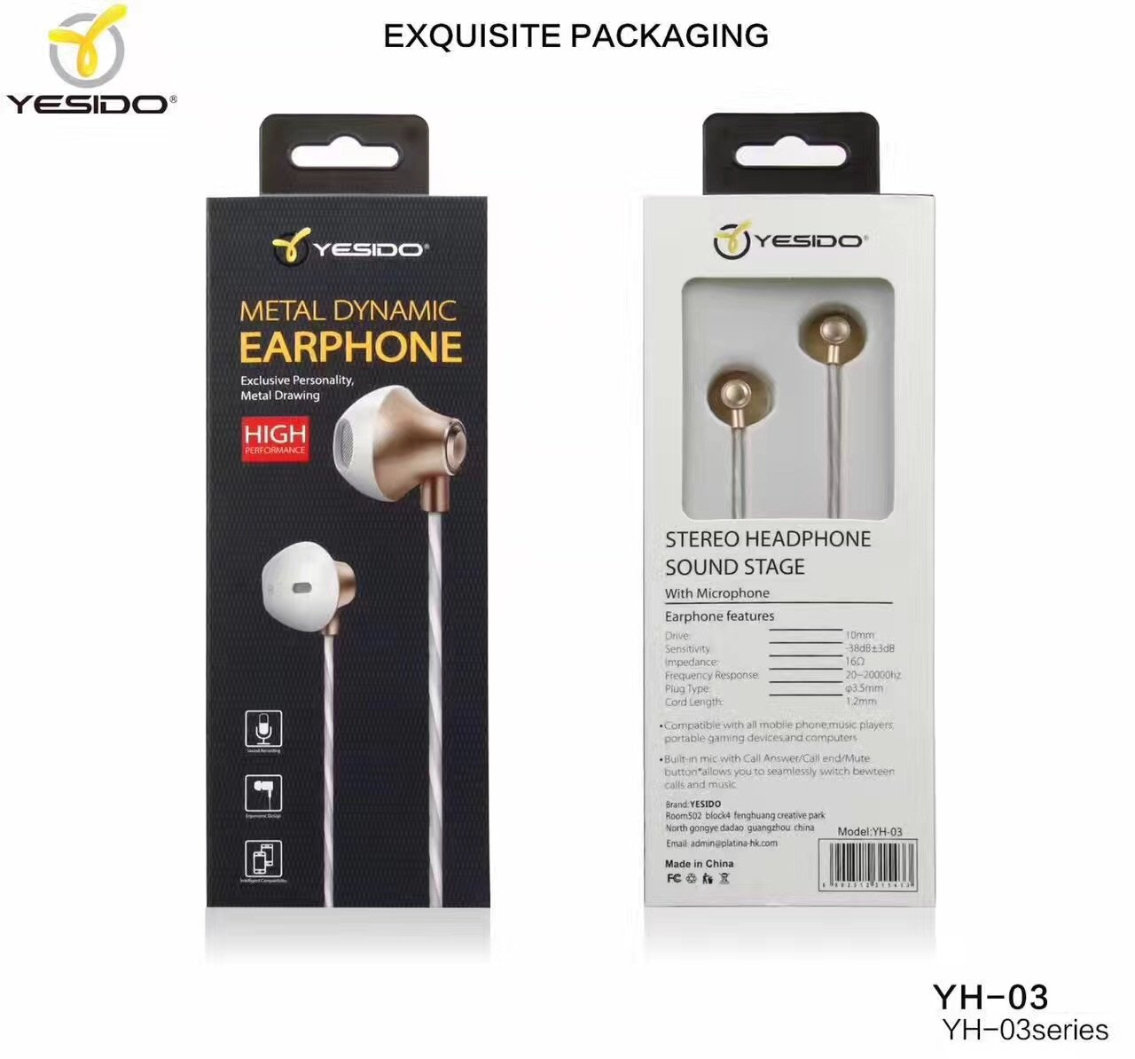 Yesido earphone bluetooth with microphone _yb-03