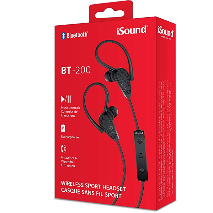Isound earphone bt-200 wireless bluetooth with mic black _5606
