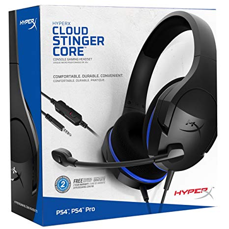 Hyperx headset cloud stinger core black and blue ps4 _hx-hscsc-bk