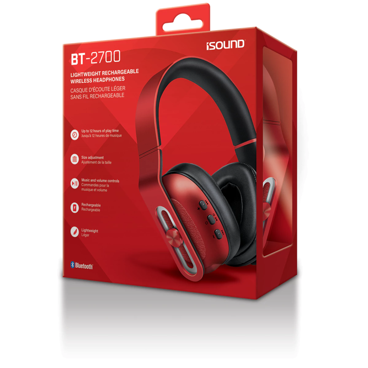 Isound headphone bt-2700 wireless bluetooth with mic rechargeable red _5628