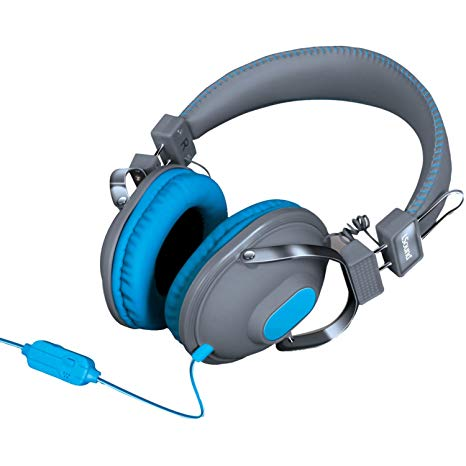 Isound headphone hm-260 with mic and volume blue color _5519