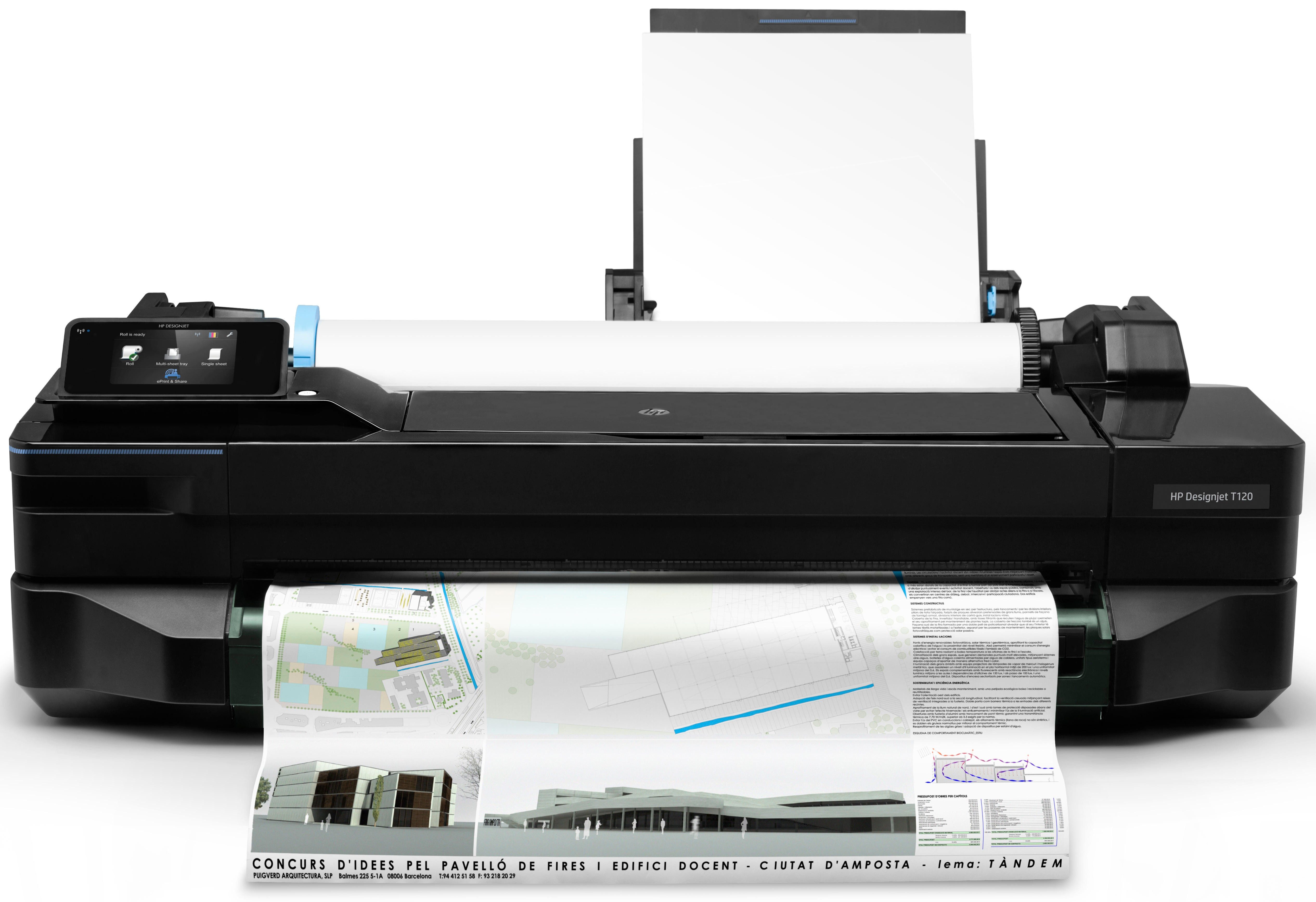 4 separate inks- Res 1200x1200dpi- Media handling: sheet feed- roll feed- input tray- automatic cutter- 256MB memory-  Network- Wi-FI- E-print- USB2.0  Supplies : 711 Black 711 Color