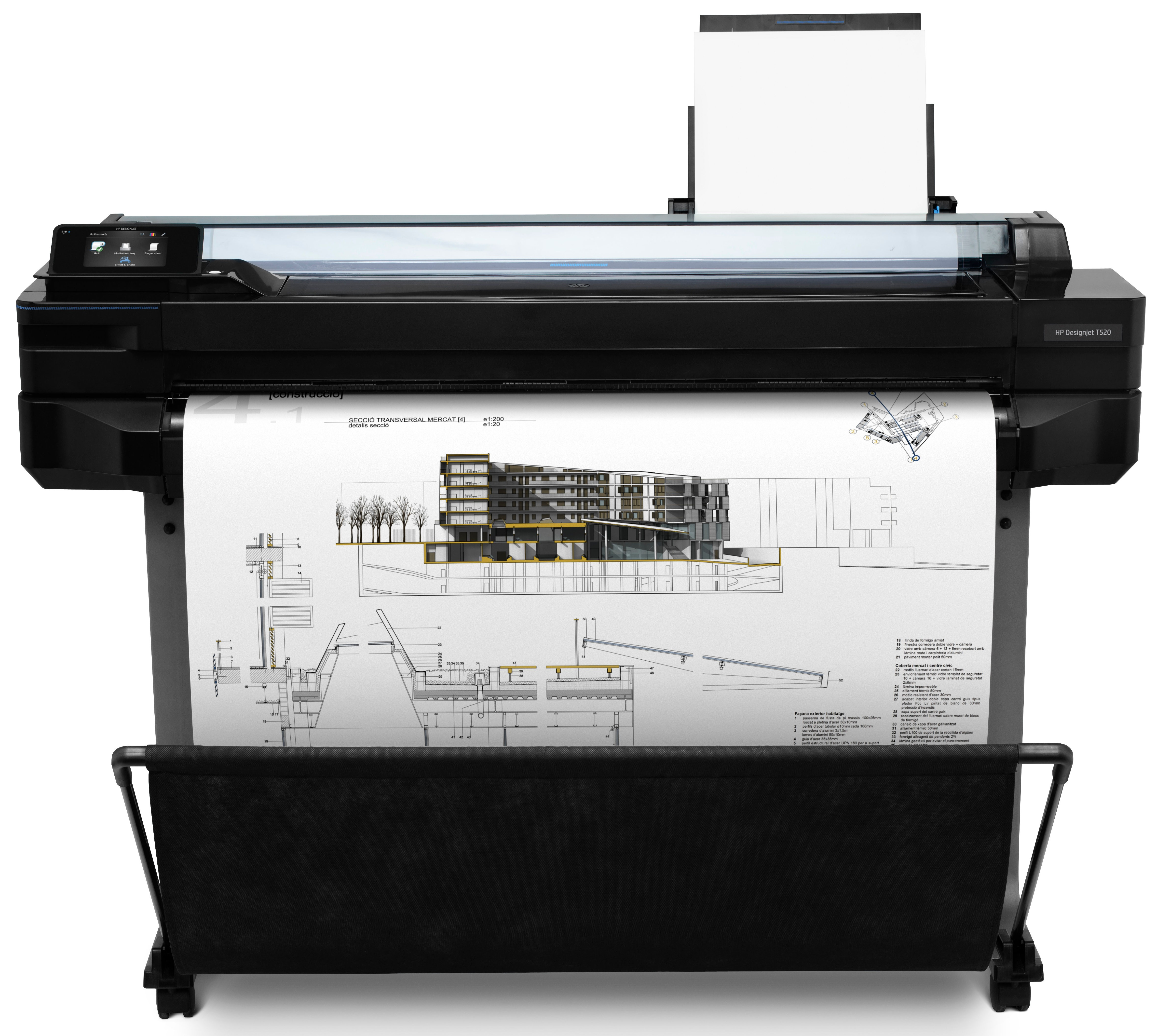4 separate inks  Res 2400x1200dpi  Media handling: sheet feed  roll feed  input tray  automatic cutter  1GB memory   Network  Wi-FI  E-print  USB2.0 supplies: 711 Black 711 Color