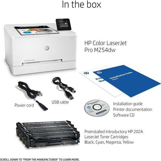 Speed 21ppm Black/Color  Res 600x600dpi  128MB Memory  800MHz processor  Network  Duplex  Wireless  E-Print  Airprint  6.85 cm color touchscreen  USB2.0  Duty Cycle 40 000 pages supplies: CF540A / CF541A / CF542A / CF543A