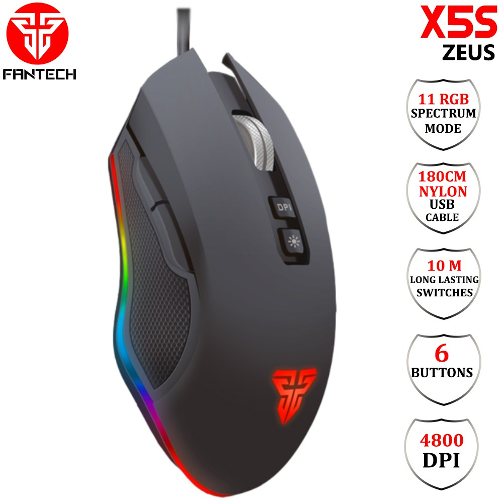 Fantech mouse x5s zeus gaming 4800dpi 7 button _ftm-t600