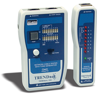 Trendnet network cable tester rj11,rj12,rh45,built in tone generator