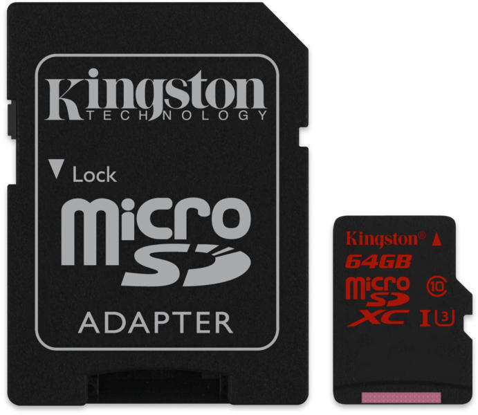 Kingston micro sd xc Memory Card 64 gb with adapter u3 4k2k_sdca364gb