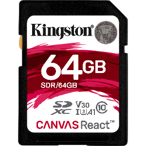 kingston memory sd 64gb 4k 100mb/s sdxc _sdr/64gb